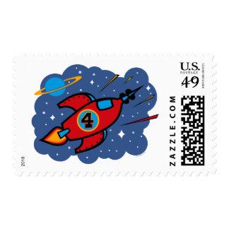 Rocket Ship 4th Birthday Postage