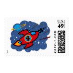 Rocket Ship 4th Birthday Postage Stamp