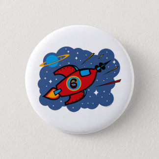 Rocket Ship 6th Birthday Button