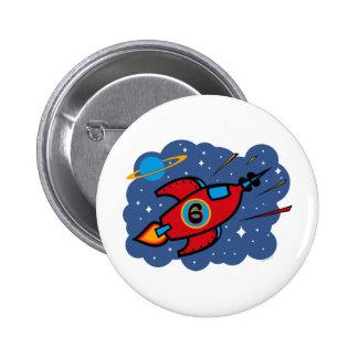 Rocket Ship 6th Birthday Pinback Button