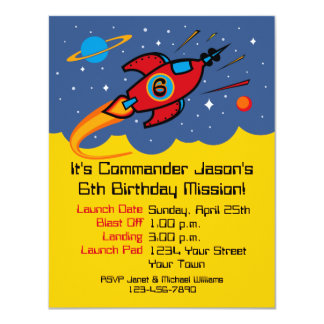 Rocket Ship 6th Birthday Custom Invitations
