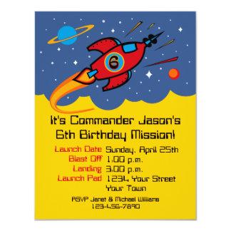 "Rocket Ship 6th Birthday Custom Invitations 4.25"" X 5.5"" Invitation Card"
