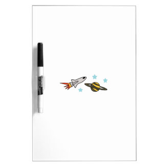 ROCKET SHIP AND SATURN DRY ERASE WHITEBOARDS
