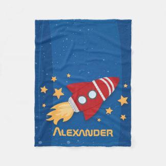 Rocket Ship and Stars Fleece Blanket