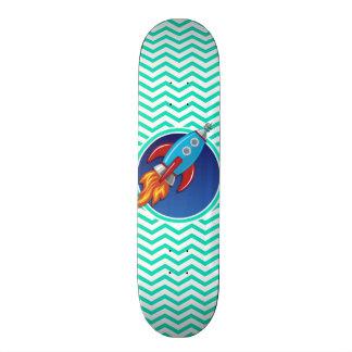 Rocket Ship; Aqua Green Chevron Skateboard Deck