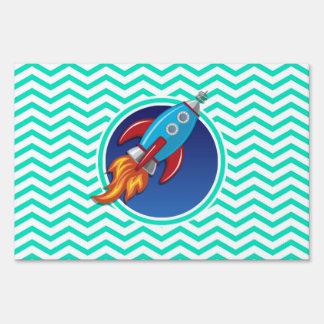 Rocket Ship; Aqua Green Chevron Lawn Sign