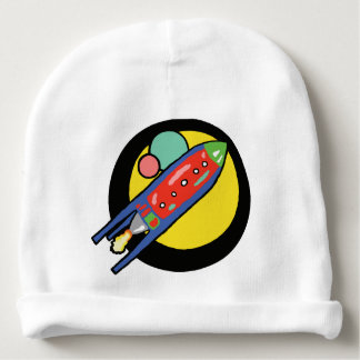Rocket Ship Baby's Rabbit Skin Cap. Baby Beanie