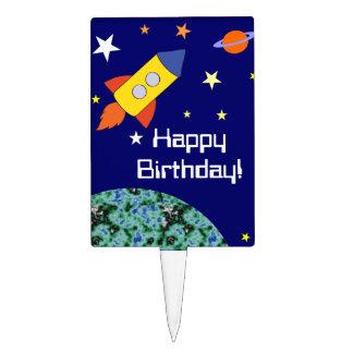 Rocket Ship Birthday Party Cake Topper