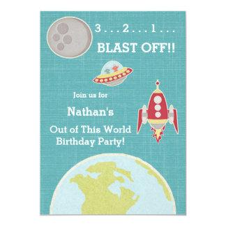 Rocket Ship Birthday Party Card