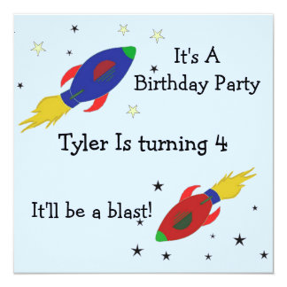 Rocket Ship Birthday Party Invitation