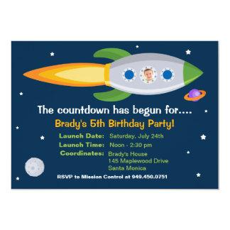 """Rocket Ship Birthday Party Invitation 5"""" X 7"""" Invitation Card"""