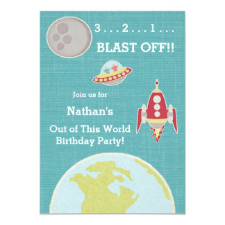 Rocket Ship Birthday Party Cards