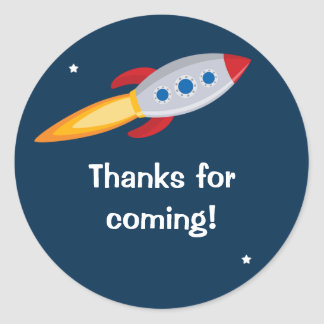 Rocket Ship Birthday Party Sticker