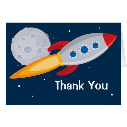 Rocket Ship Birthday Party Thank You Card