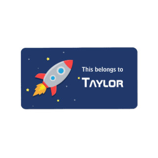 Rocket Ship Blast into Outer Space, For kids Label