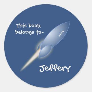 Rocket ship bookplate sticker
