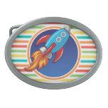 Rocket Ship; Bright Rainbow Stripes Belt Buckles