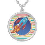 Rocket Ship; Bright Rainbow Stripes Necklace