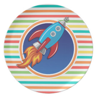Rocket Ship; Bright Rainbow Stripes Dinner Plate