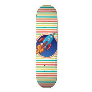 Rocket Ship; Bright Rainbow Stripes Custom Skate Board