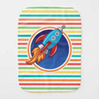 Rocket Ship Bright Rainbow Stripes Baby Burp Cloths