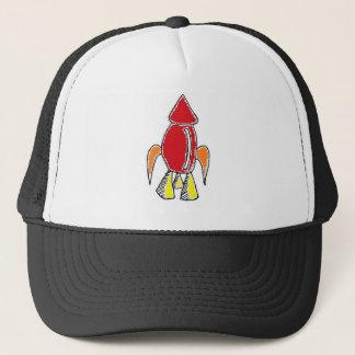 Rocket Ship Cartoon Trucker Hat