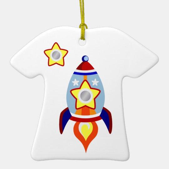 Rocket Ship Ceramic Ornament