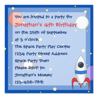 Rocket Ship Childrens Birthday Party Invitations