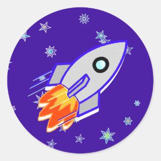 Rocket Ship Classic Round Sticker