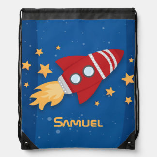 Rocket Ship Drawstring Bag