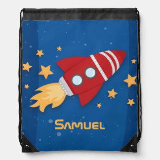 Rocket Ship Drawstring Bag