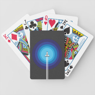 Rocket ship flies past the Blue Planet Bicycle Playing Cards