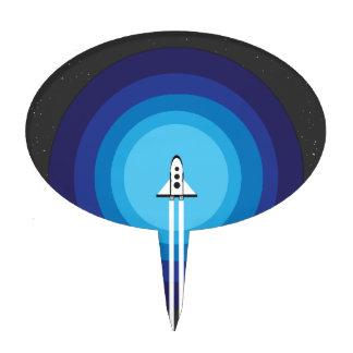 Rocket ship flies past the Blue Planet Cake Topper