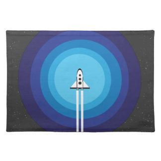 Rocket ship flies past the Blue Planet Cloth Placemat