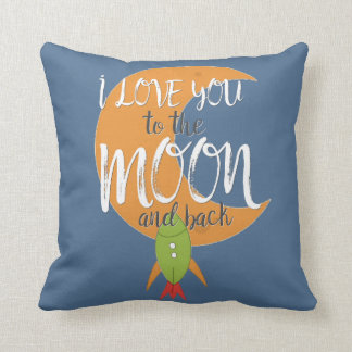 Rocket Ship I Love You to the Moon Boy's Room Throw Pillow