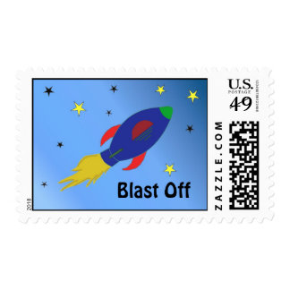 Rocket Ship in Outer Space Postage Stamp