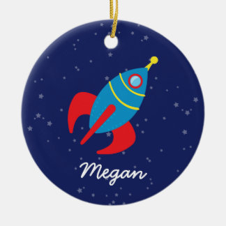 Rocket Ship in Space Ceramic Ornament