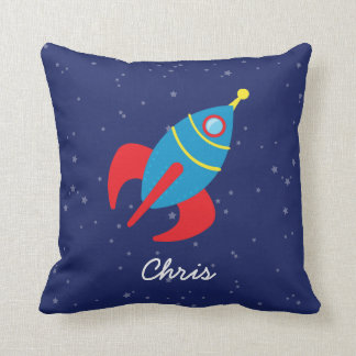 Rocket Ship in Space Throw Pillow