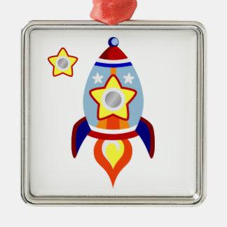 Rocket Ship Metal Ornament