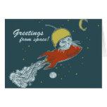 rocket ship - note card