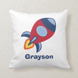 Rocket Ship Nursery Boys Room Decor Throw Pillow