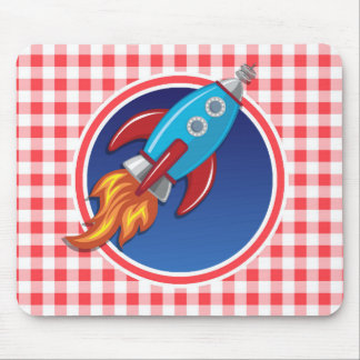 Rocket Ship on Red and White Gingham Mouse Pad