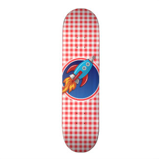 Rocket Ship on Red and White Gingham Skateboards