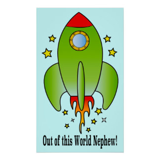 Rocket Ship Out-of-this-World Nephew Poster