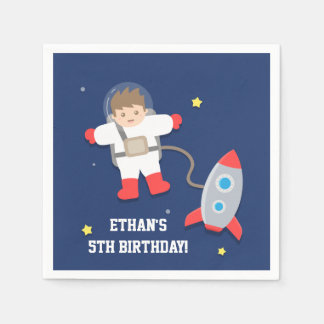 Rocket Ship Outer Space Astronaut Birthday Party Napkin