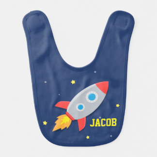 Rocket Ship, Outer Space, For Baby Boys Bib