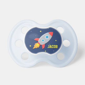 Rocket Ship, Outer Space, For Baby Boys Pacifier
