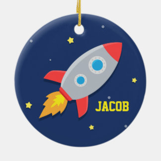 Rocket Ship, Outer Space, For Boys Ceramic Ornament