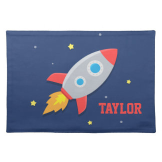 Rocket Ship, Outer Space, For Boys Cloth Placemat