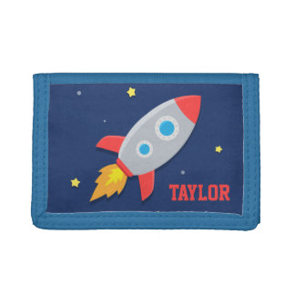 Rocket Ship, Outer Space, For Boys Trifold Wallet